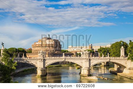 Castel Sant'angelo With Bridge By Day And Blue Sky