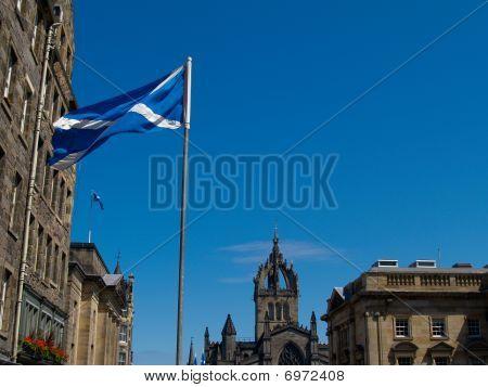 Flag of Scotland on Royal Mile, Edinburgh.