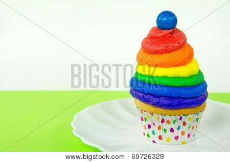 rainbow cupcake with gumball