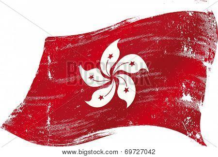 waving Hong Kong grunge flag. A waving Hong Kong flag with a texture for you