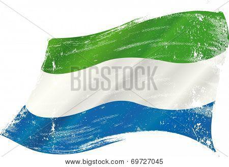 waving Sierra Leone grunge flag. A grunge flag of Sierra Leone in the wind