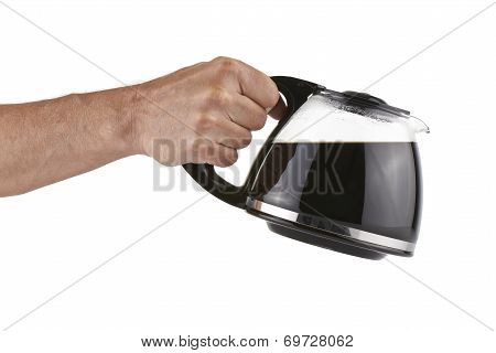 Coffee Pot Holding By The Human Hand