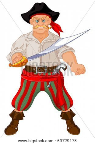 Illustration of Armed pirate