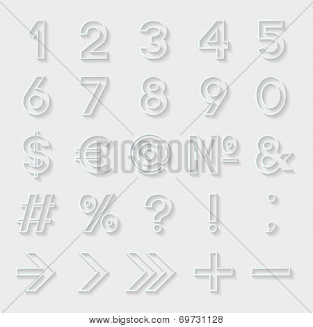 Set of decorative numbers and symbols. Vector illustration.