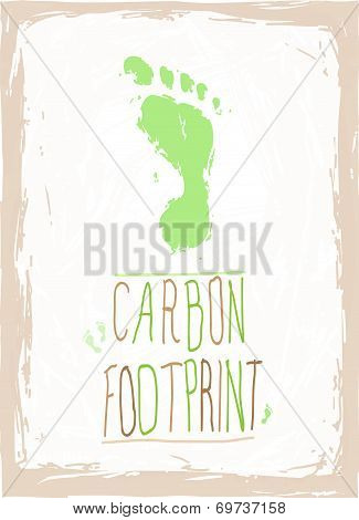Green hand drawn footprint
