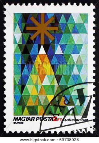 Postage Stamp Hungary 1988 Christmass Tree