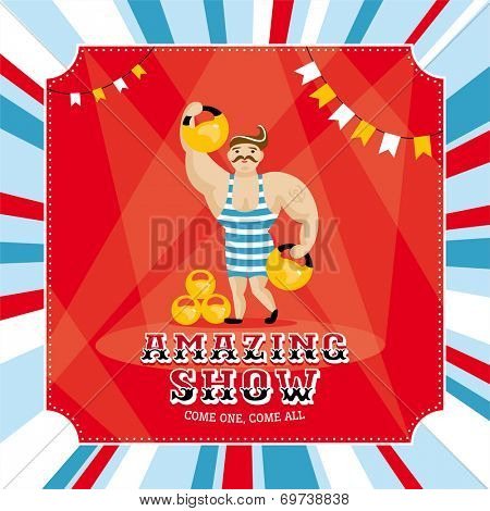 Circus card with strongman vector illustration
