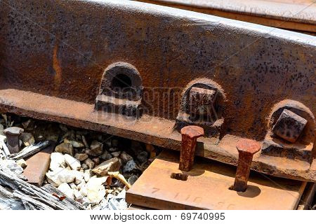 abandoned and degraded railroad tracks with loose parts