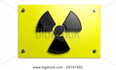Nuclear warning sign isolated on white background