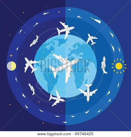 Vector illustration of airplane routes and planet Earth