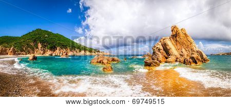 Beach Scenic Panoramic View In Costa Paradiso, Sardinia