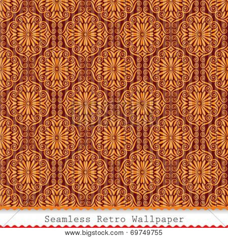 Vintage seamless wallpaper pattern background. Vector.