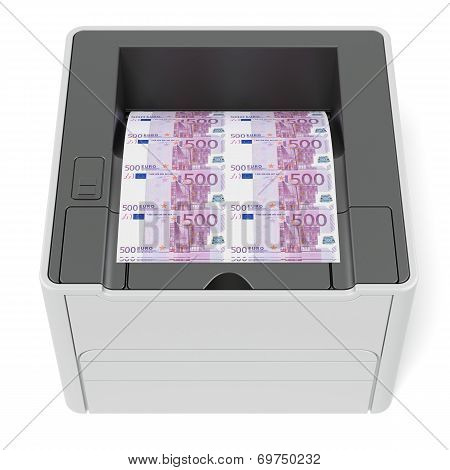Printer with euro bills