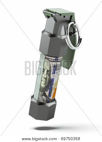 Flashbang Grenade with stack of dollar bills