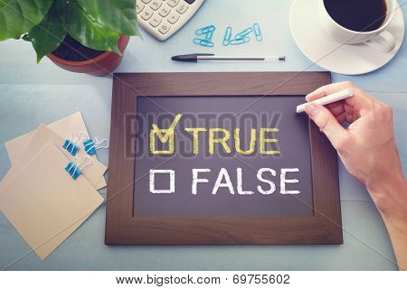 True Or False Checkboxes Sketched On A Little Blackboard