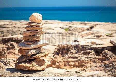 Stones Balance, Pebbles Stack Over Blue Sea