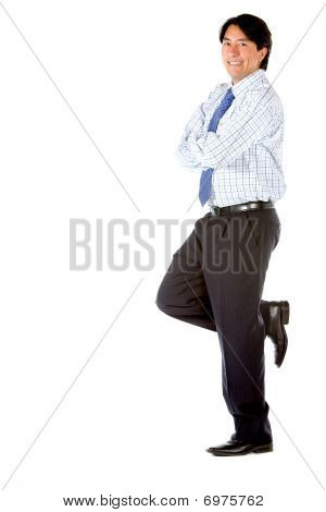 Business Man Leaning On A Wall