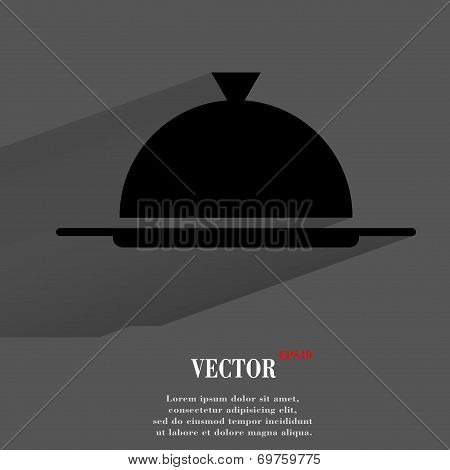 Restaurant cloche. Flat modern web button with long shadow and space for your text