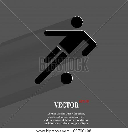 football player. Flat modern web button with long shadow and space for your text.