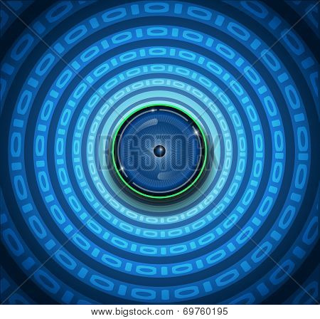 Eyeball and binary code on ripple blue background