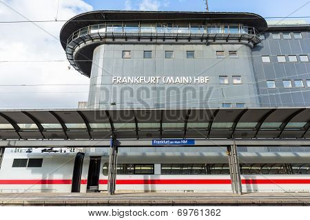 The Empty Platform With Train With Control Tower Of Frankfurt Main Station