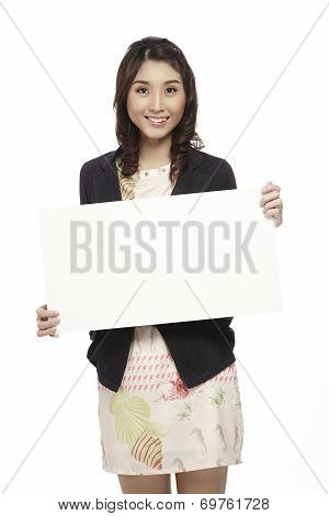 Businesswoman Holding Blank Whiteboard Sign