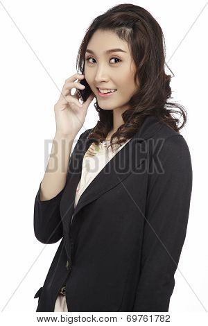 Asian Business Woman Use Cellphone.