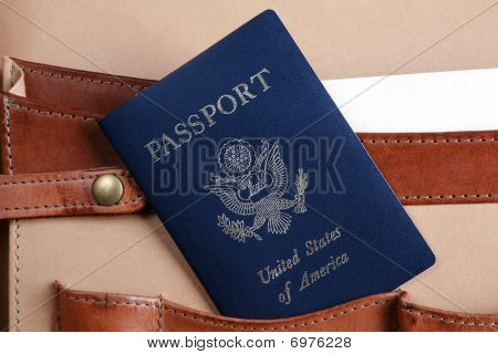 Passport In A Leather Briefcase -  Horizontal