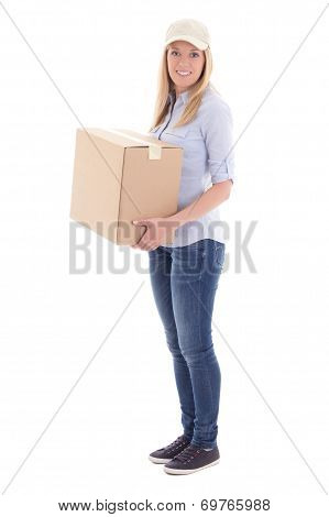 Post Delivery Woman Holding Carboard Box Isolated On White