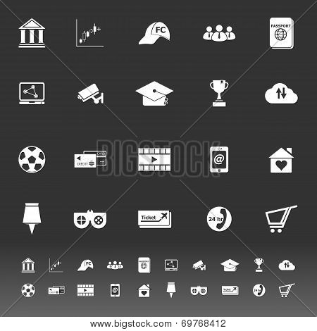 General Online Icons On Gray Background