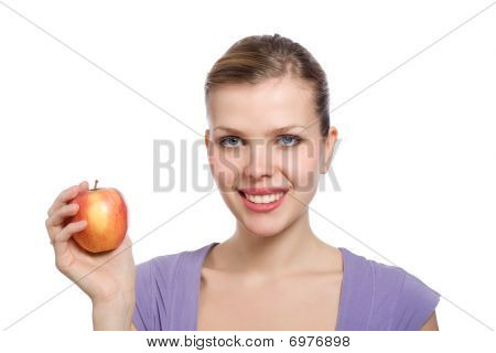 Young Blonde Woman With A Red Apple
