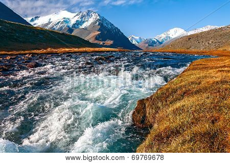 River, Mountains, Grass, Sky