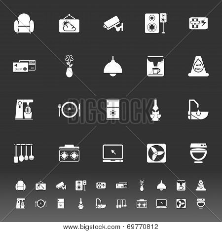 Cafe And Restaurant Icons On Gray Background