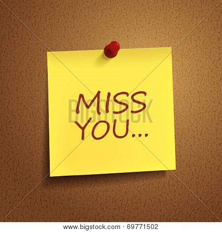 Miss You Words On note