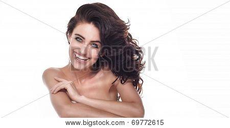 Sensual Brunette Beauty Smiling