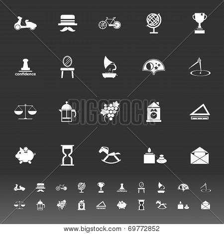 Vintage Item Icons On Gray Background