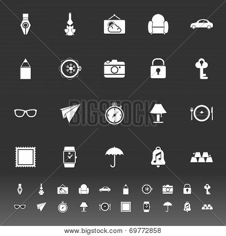 Vintage Collection Icons On Gray Background