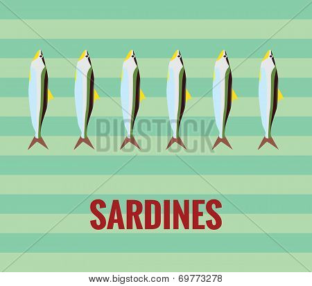 Sardines drawing on green background.