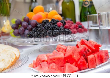 Catering food table at a wedding party