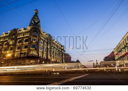House Zinger On Nevsky Prospekt In St. Petersburg At Night Illumination In White Nights