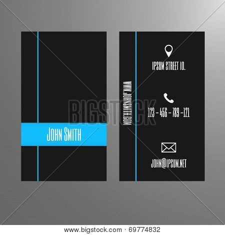 Business card template - simple and modern blue and dark grey design