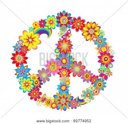 Peace flower symbol. Raster copy