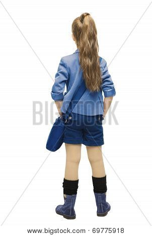 Schoolgirl In Uniform Back Side View. School Girl Backside, Looking Rear, Isolated Over White Backgr