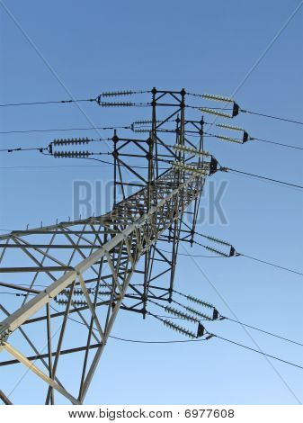 Electrical Powerlines (electricity Pylons), Blue Sky, Sunny Day