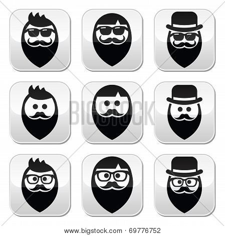 Man with beard with moustache or mustache hipster buttons