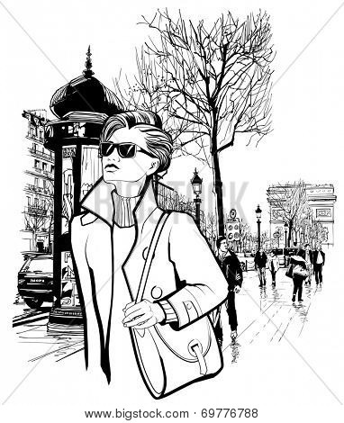 Woman walking in Champs-Elysees avenue in Paris - Vector illustration