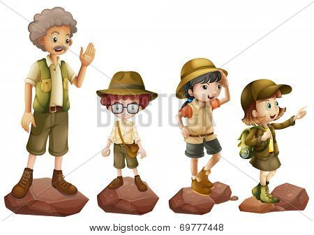 Illustration of a family of explorers on a white background