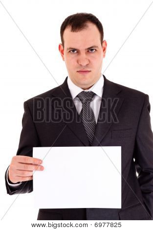 Angry Businessman Show Paper
