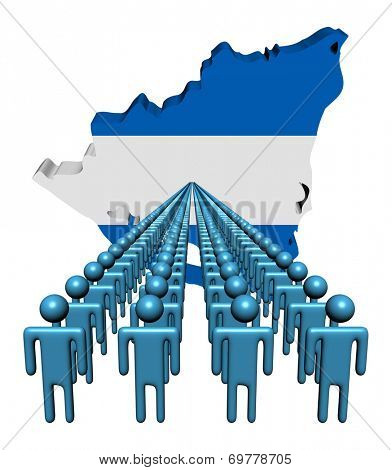 Lines of people with Nicaragua map flag illustration
