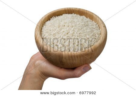 Hand Holding Bowl Of Rice